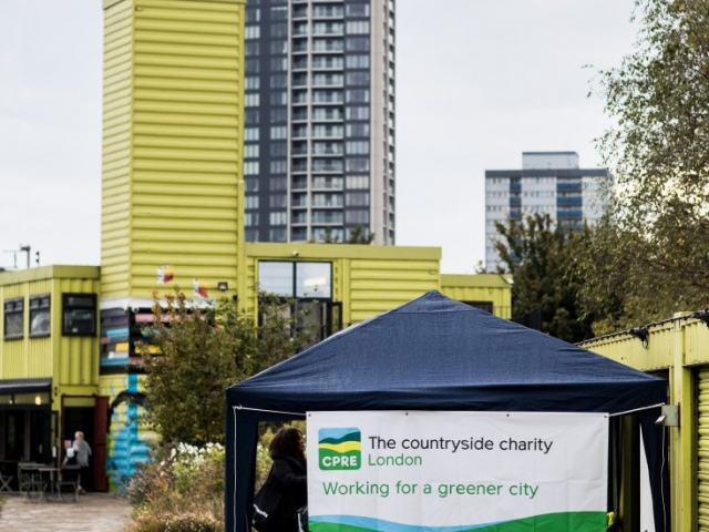 CPRE London banner with tower blocks in background hi-rise