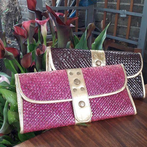 Handmade purses in pink and dark colours