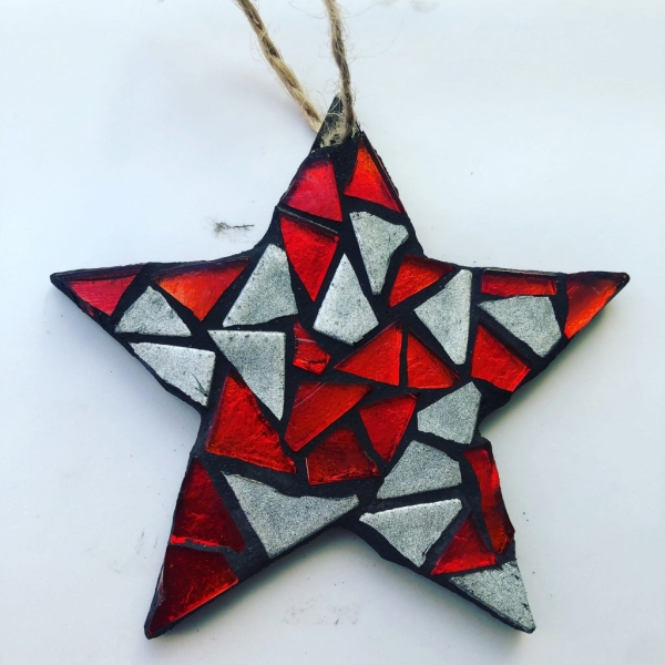 Small red, white and black star mosaic