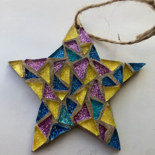 Small star mosaic with blue, yellow and pink colours with string