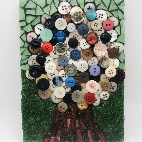 Tree mosaic picture using buttons and mosaic pieces
