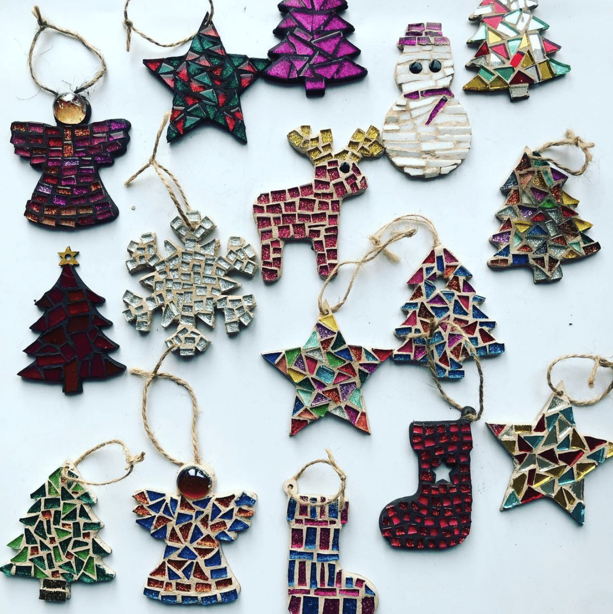 Collection of mosaic Christmas decorations