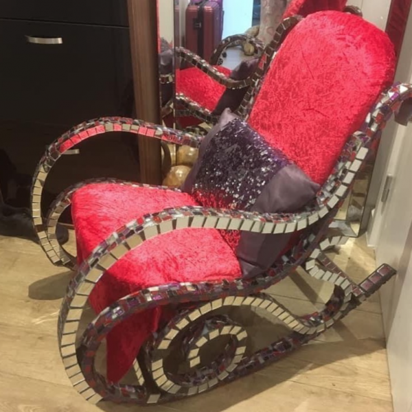 Chair decorated with mosaic pieces