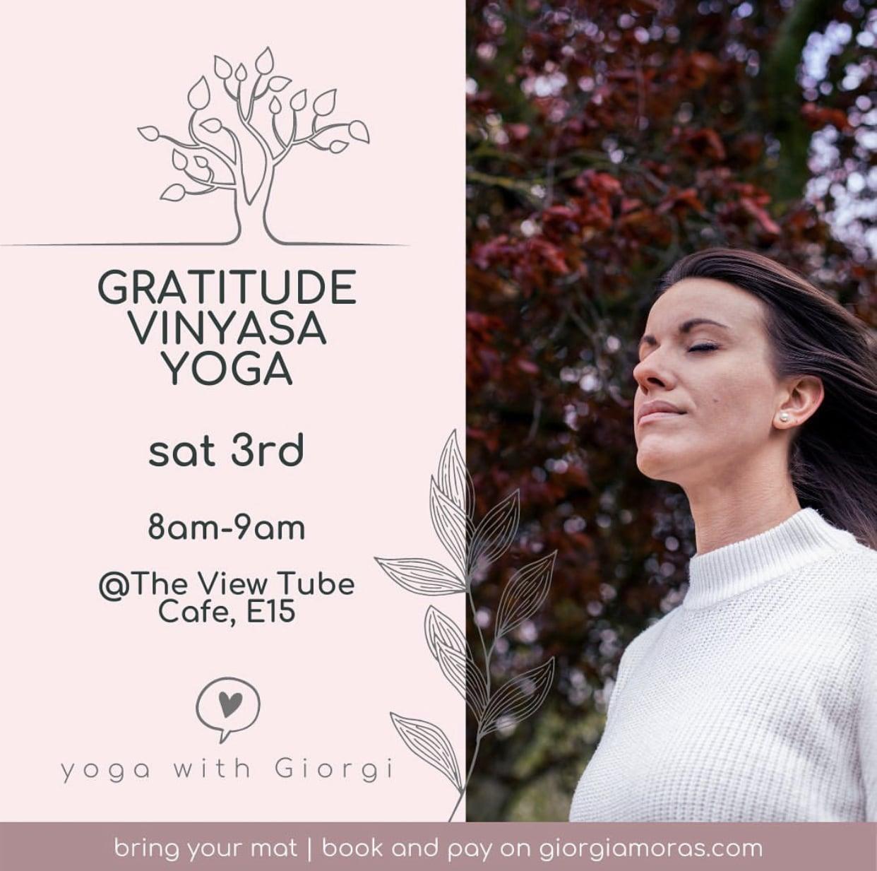 gratitude yoga, sat 3rd july 8am-9am